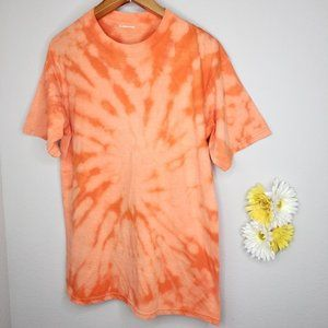 Women's bleached short sleeves t-shirt orange
